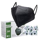FFP2 Maske CE Zertifiziert Schwarz - 25 Stück Maske - Premium hygienische...